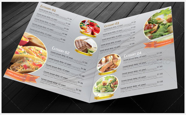 Bi-Fold Restaurant Food Menu Template