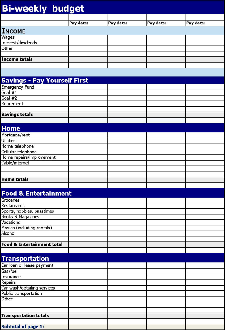 Bi-Weekly Budget Template | Download Free & Premium Templates