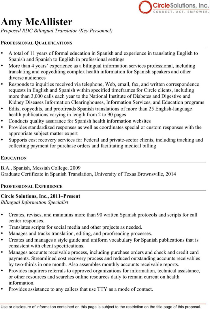 Bilingual Translator Resume  Bilingual In Resume