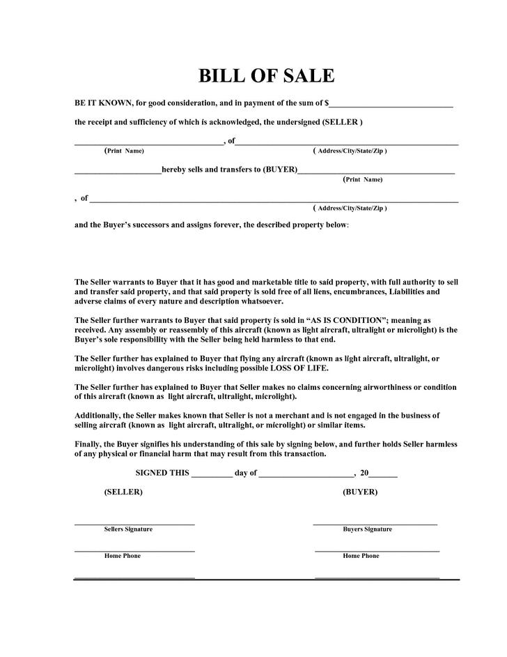 Bill Of Sale Templates | Download Free & Premium Templates, Forms