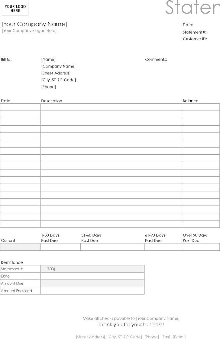 Billing Statement (Simple Lines Design)
