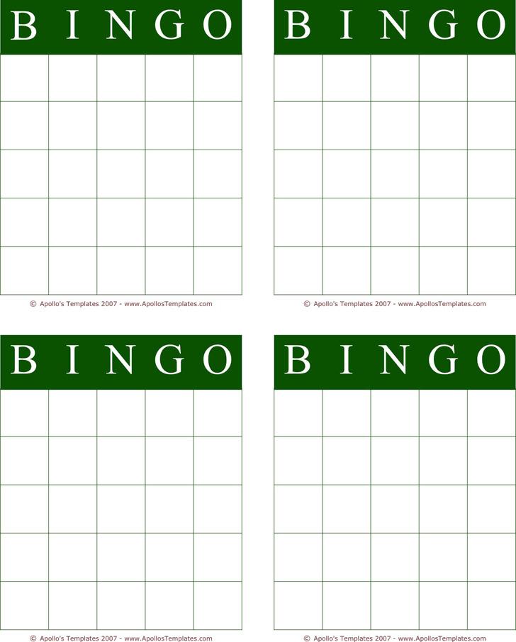Bingo Card Template 2