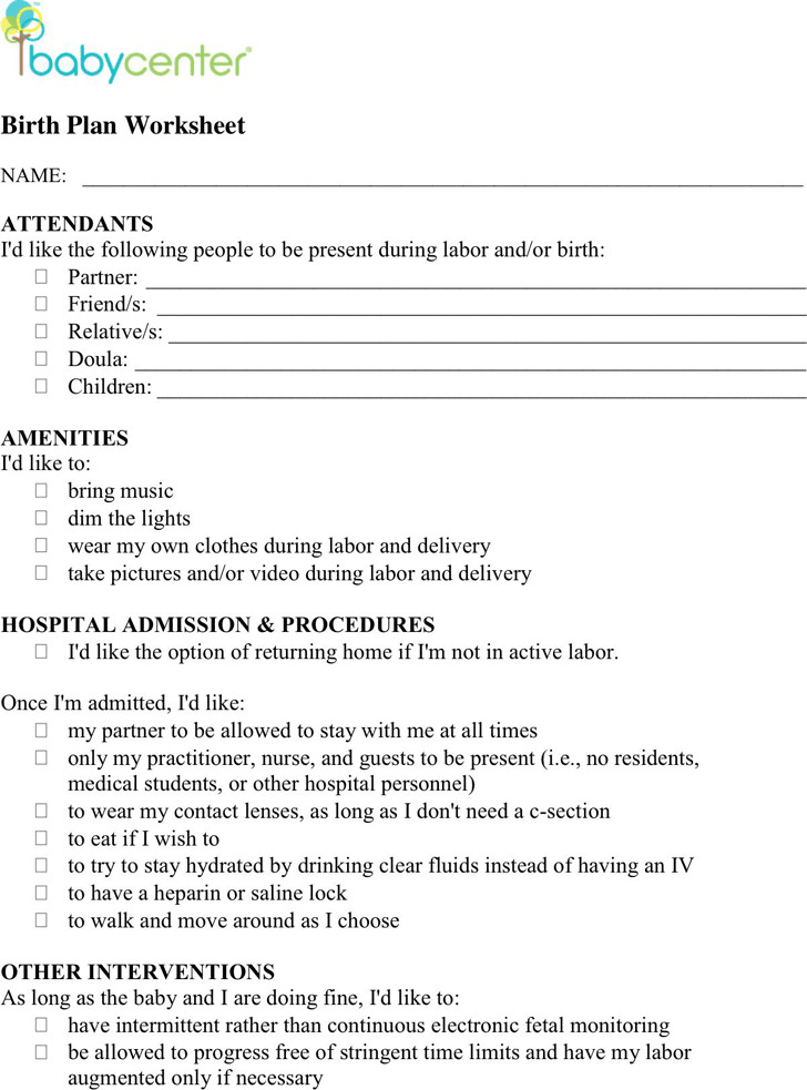 Birth Plan Worksheet 1