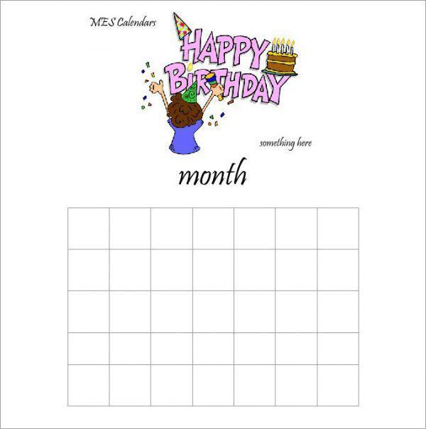 Birthday Calendar Making Template