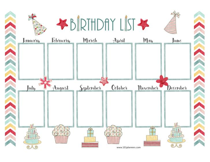 Birthday Calendar Template Birthday Cake Printable Birthday Chart