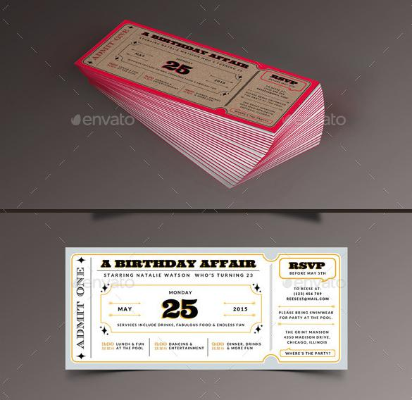 Birthday Invitation Ticket Template