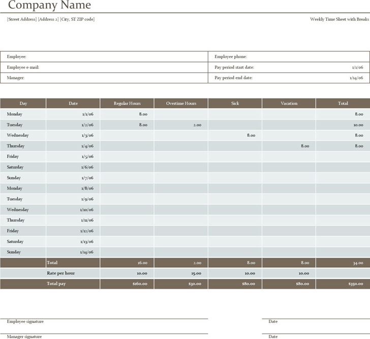 Biweekly Timesheet Template  Download Free  Premium Templates