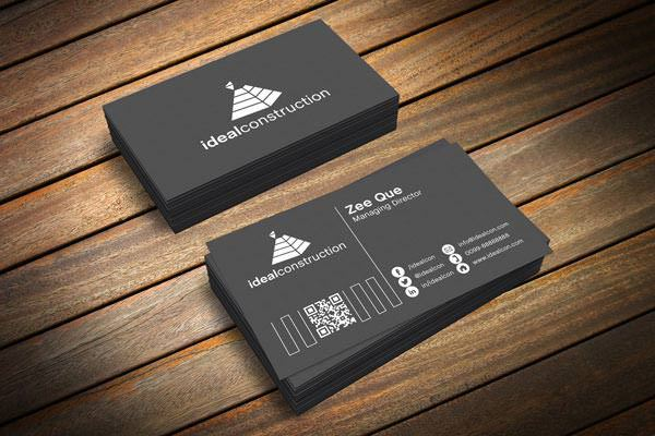 Black Business Card Template & Mockup PSD