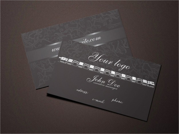Black Jewelry Metal Business Card Template