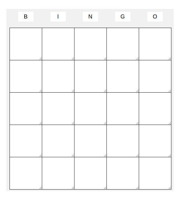Blank 5x5 Bingo Template