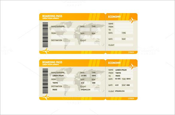 Blank Airline Boarding Ticket Yellow Background
