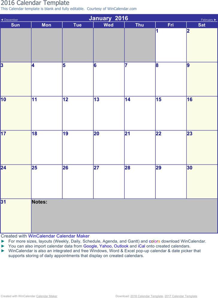 Blank Apointment Calendar Template