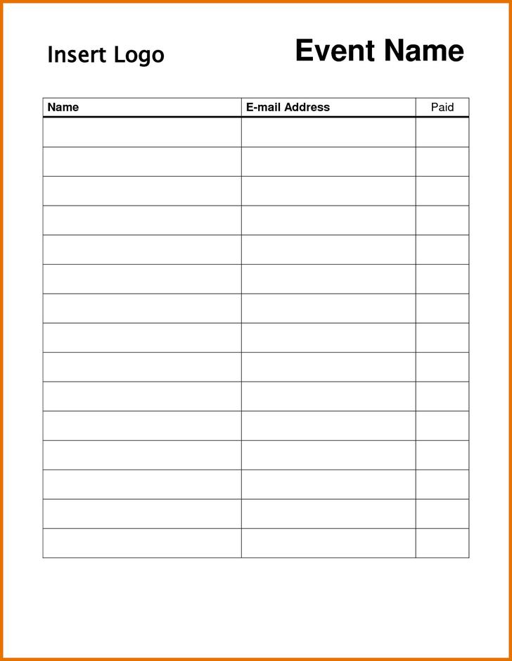 Blank Attendance Sign In Sheet Download