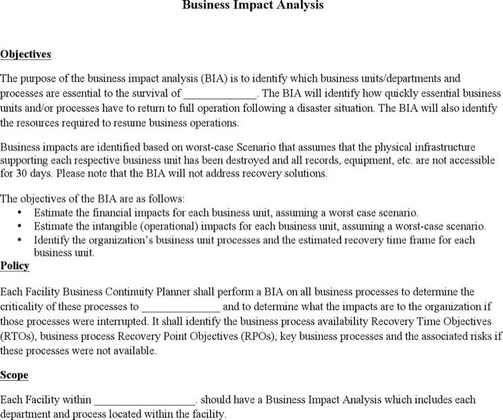Blank Business Impact Analysis