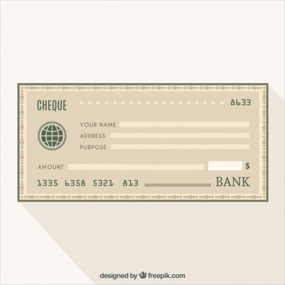 Blank Cheque Bank Free Vector