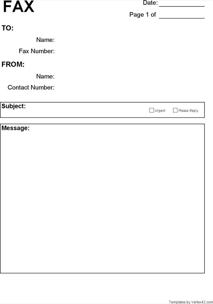 Blank Cover Sheet Templatessample Fax Cover Sheet Template