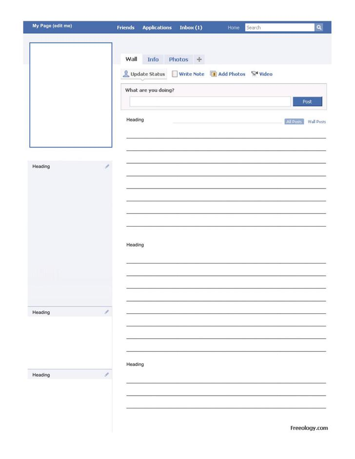 Blank Facebook Template for MS Word