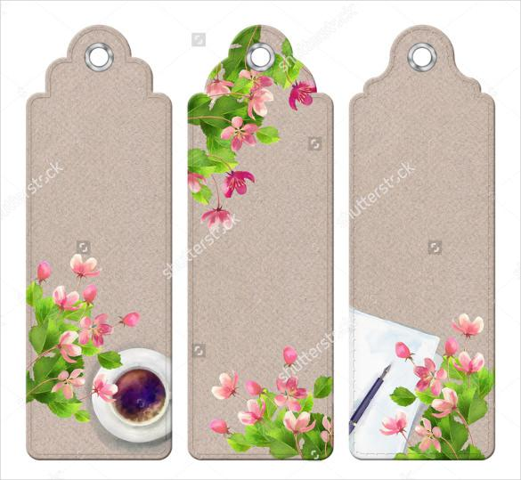 Blank Floral Bookmark Template
