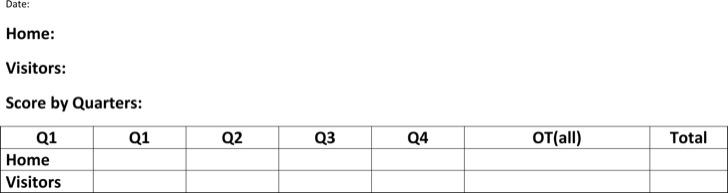Blank Football Scoresheet Board