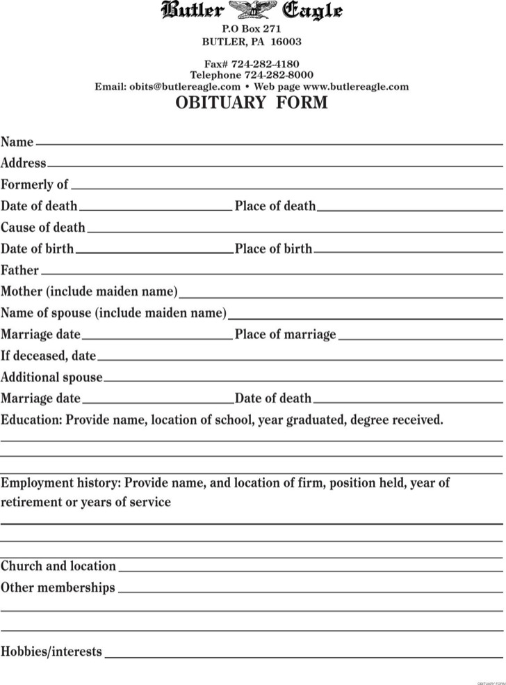 Funeral Obituary Template  Download Free  Premium Templates Forms