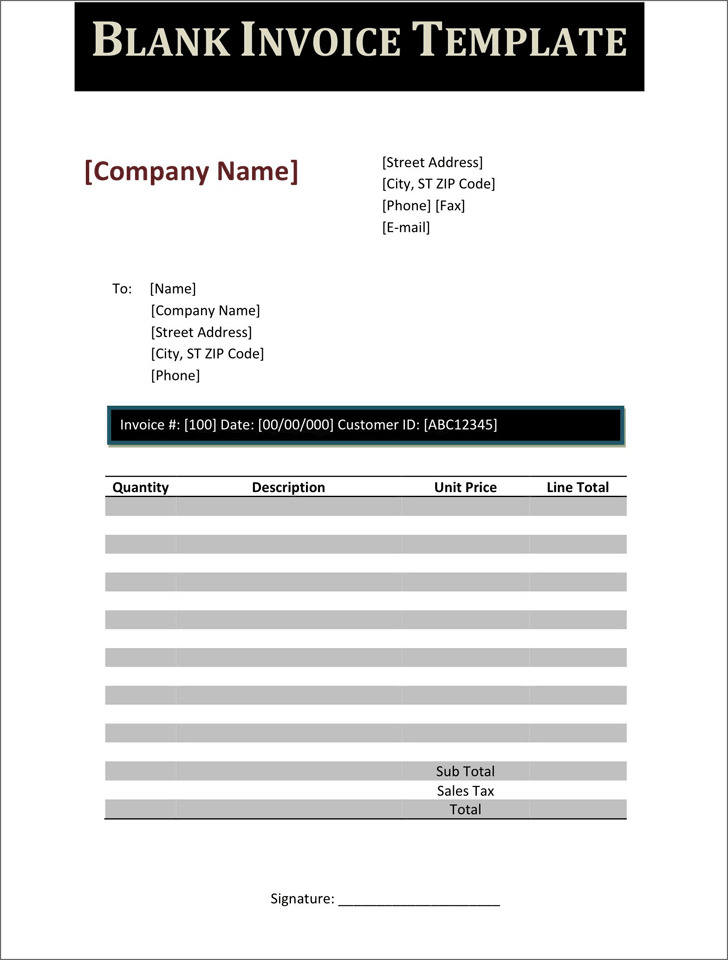 download free blank invoice template