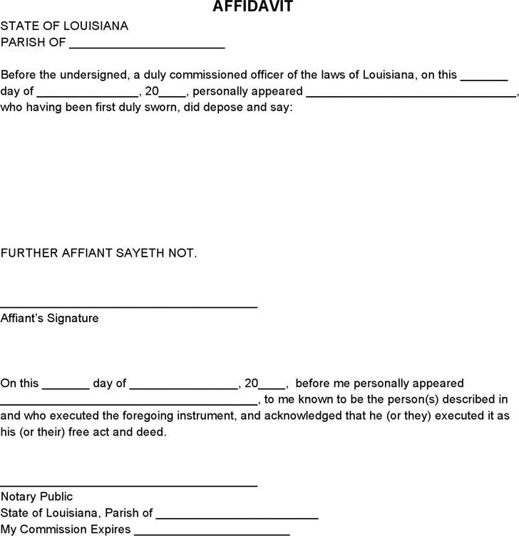 Blank Louisiana Affidavit