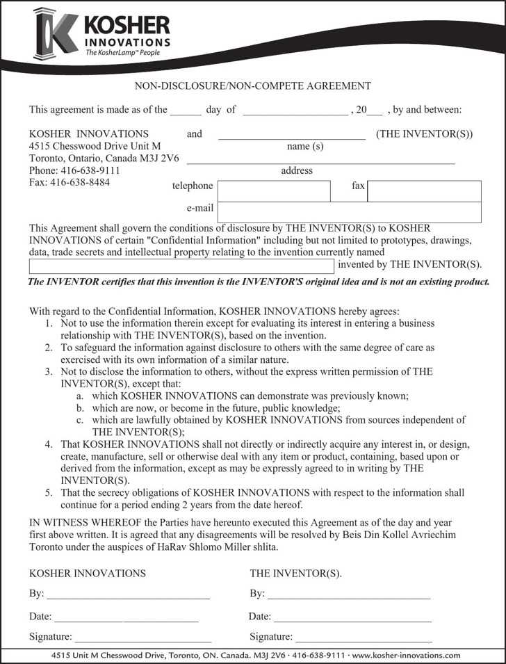 Sample Non-Disclosure Non-Compete Agreements | Download Free