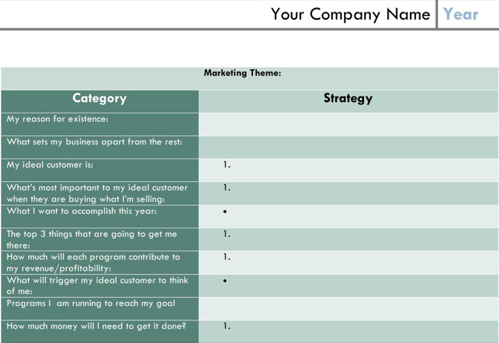 Blank One Page Marketing Plan Template