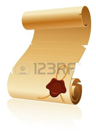 Blank Paper Scroll Template Design With Wax Seal - $4