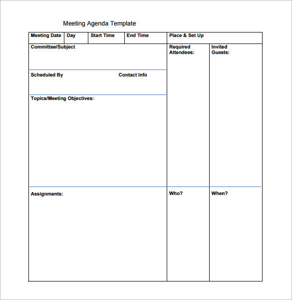 Blank Printable Meeting Agenda Template