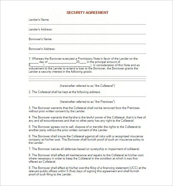 Promissory Note Templates – Security Agreement Template