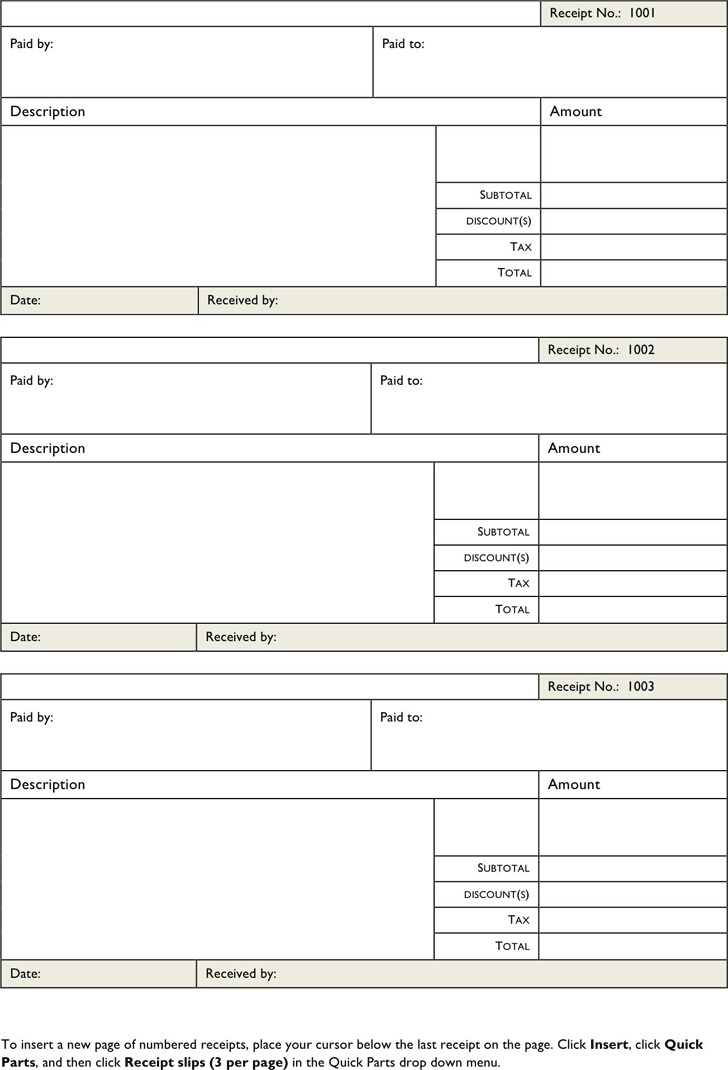 Blank Receipt Template – Blank Receipts Templates