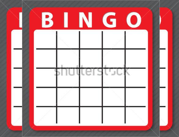 Blank Red colour Bingo