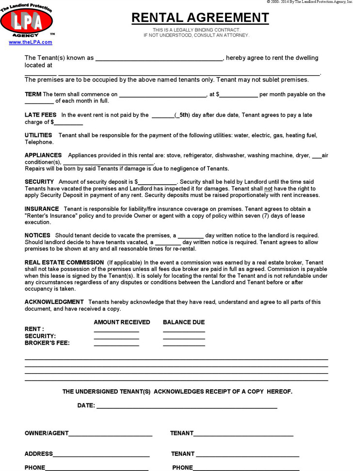 Blank Rental Agreement Templates – Residential Rent Agreement Format