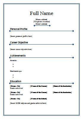 Blank Resume Template for Freshers