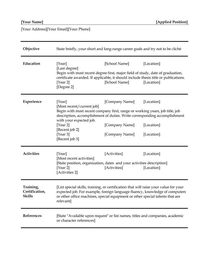 Blank Resume Templates Download Free Amp Premium Templates