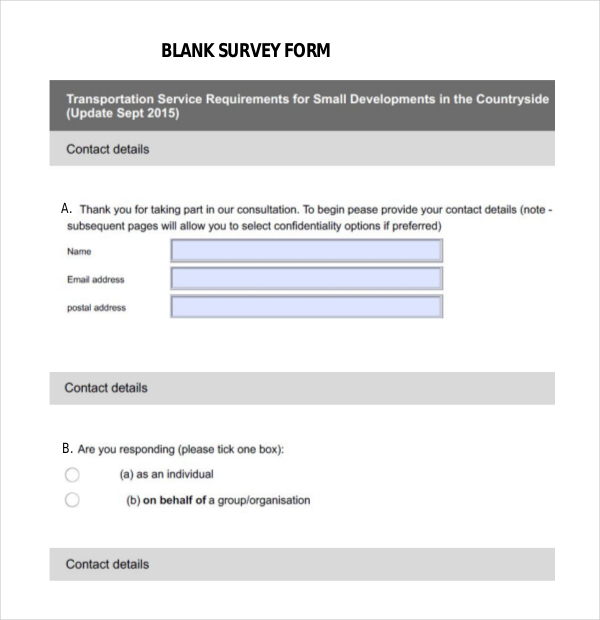Blank Survey Templates  Download Free  Premium Templates Forms