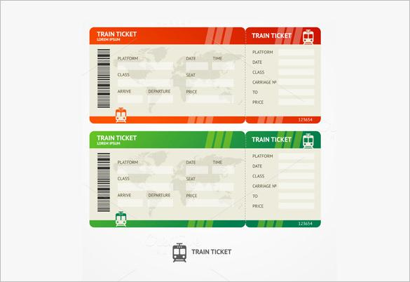 Blank Train Ticket Vector Format  Concert Ticket Template Free
