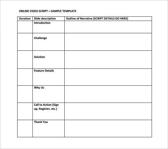 Blank Video Script Outline Template PDF Download
