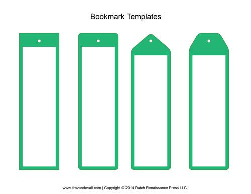 Blank White Color Bookmark Template