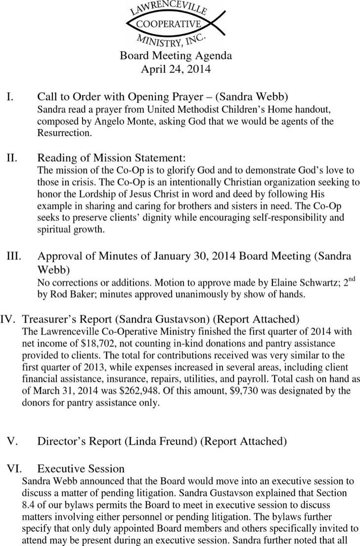 Board Client Meeting Agenda Sample Template