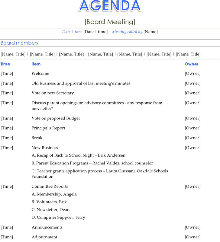 Board Meeting Agenda First Board Meeting Agenda Meeting Agenda