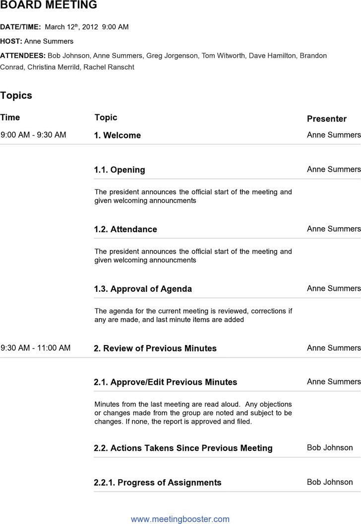 Board Meeting Agenda Template – Board Meeting Agenda Template