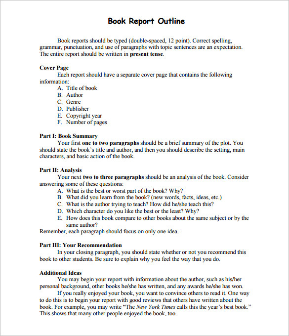 Book Report Outline Template PDF Format