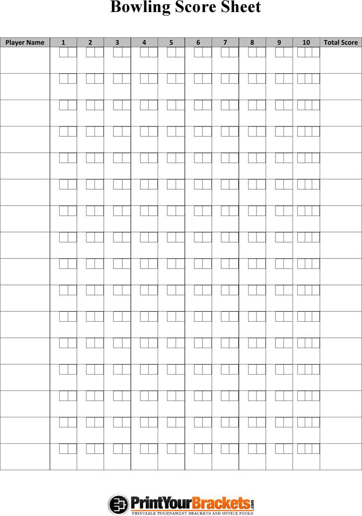 Bowling Score Sheet 2