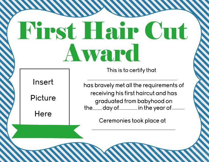 Boys First Hair cut Award Printable