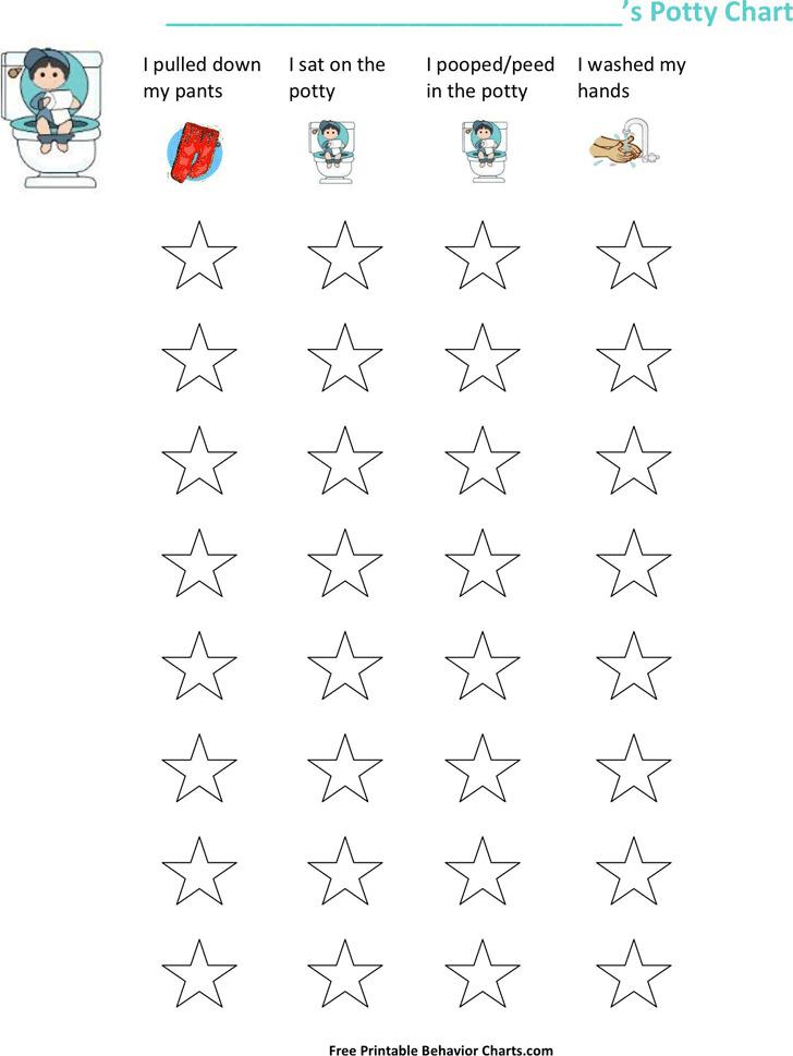 Boy's Potty Training Chart