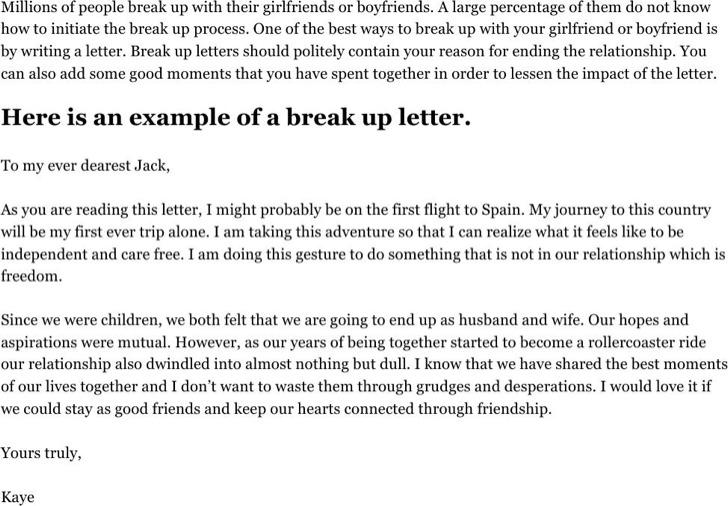 Break Up Letter To Boyfriend
