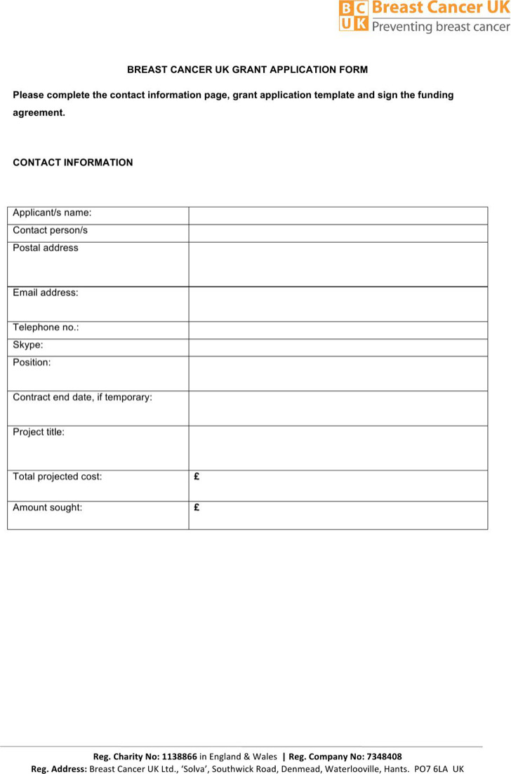 Breast Cancer Uk Grant Application Template