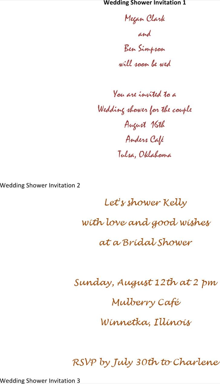 Bridal Wedding Shower Invitation Template  Microsoft Invitation Templates
